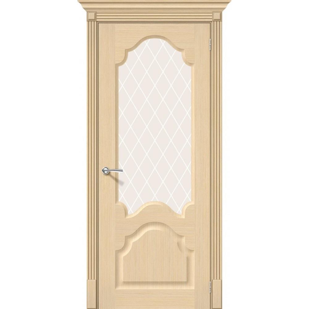 Межкомнатная дверь Афина Ф-22 (БелДуб)/White Сrystal