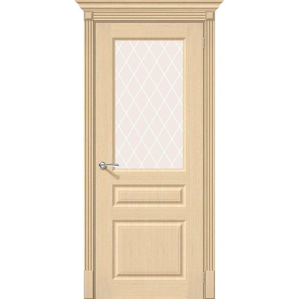Межкомнатная дверь Статус-15 Ф-22 (БелДуб)/White Сrystal