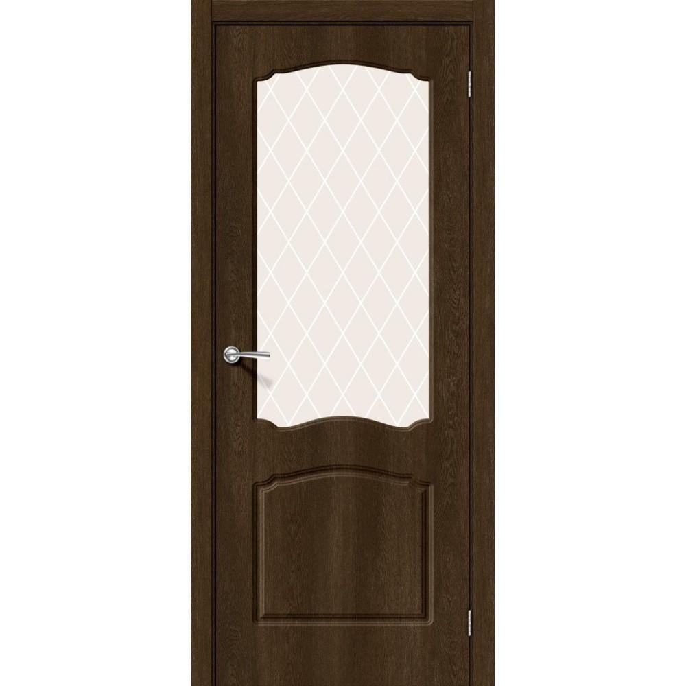 Межкомнатная дверь Альфа-2 Dark Barnwood/White Сrystal