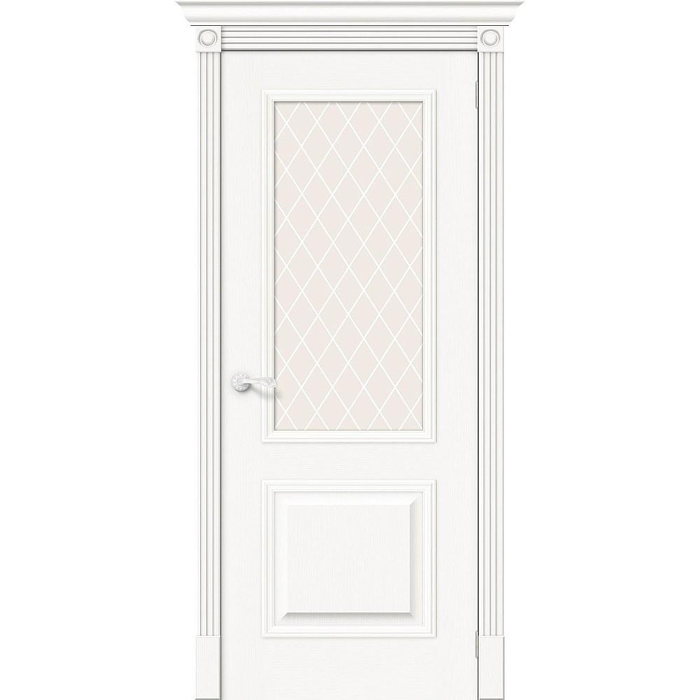 Межкомнатная дверь Вуд Классик-13 Whitey/White Сrystal