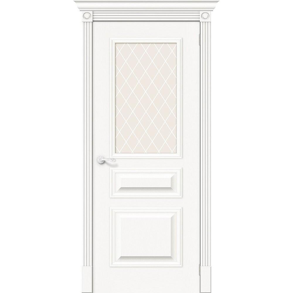 Межкомнатная дверь Вуд Классик-15.1 Whitey/White Сrystal
