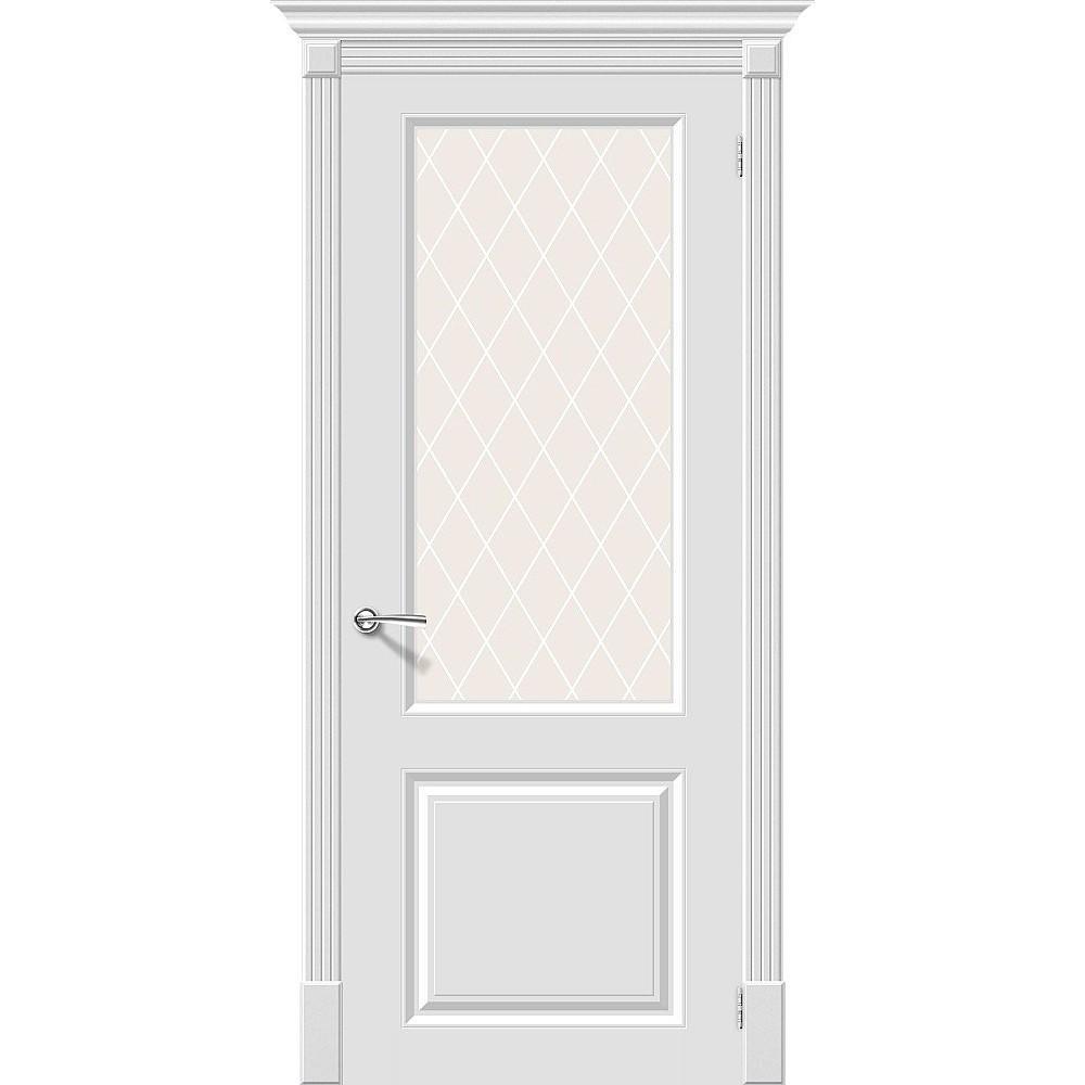 Межкомнатная дверь Скинни-13 Whitey/White Сrystal