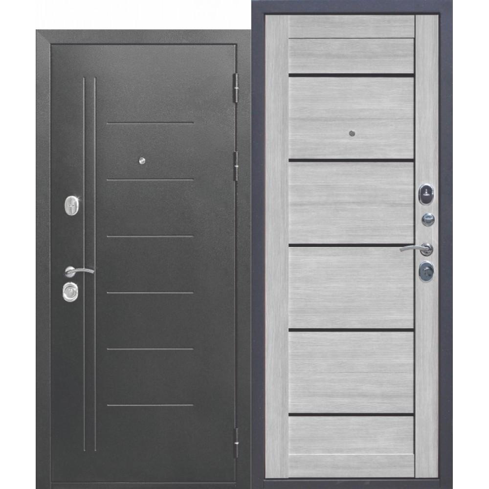 Входная металлическая дверь 10 см Троя Серебро Дымчатый дуб.