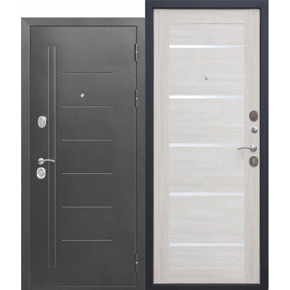 Входная металлическая дверь 10 см Троя Серебро Лиственница беж.