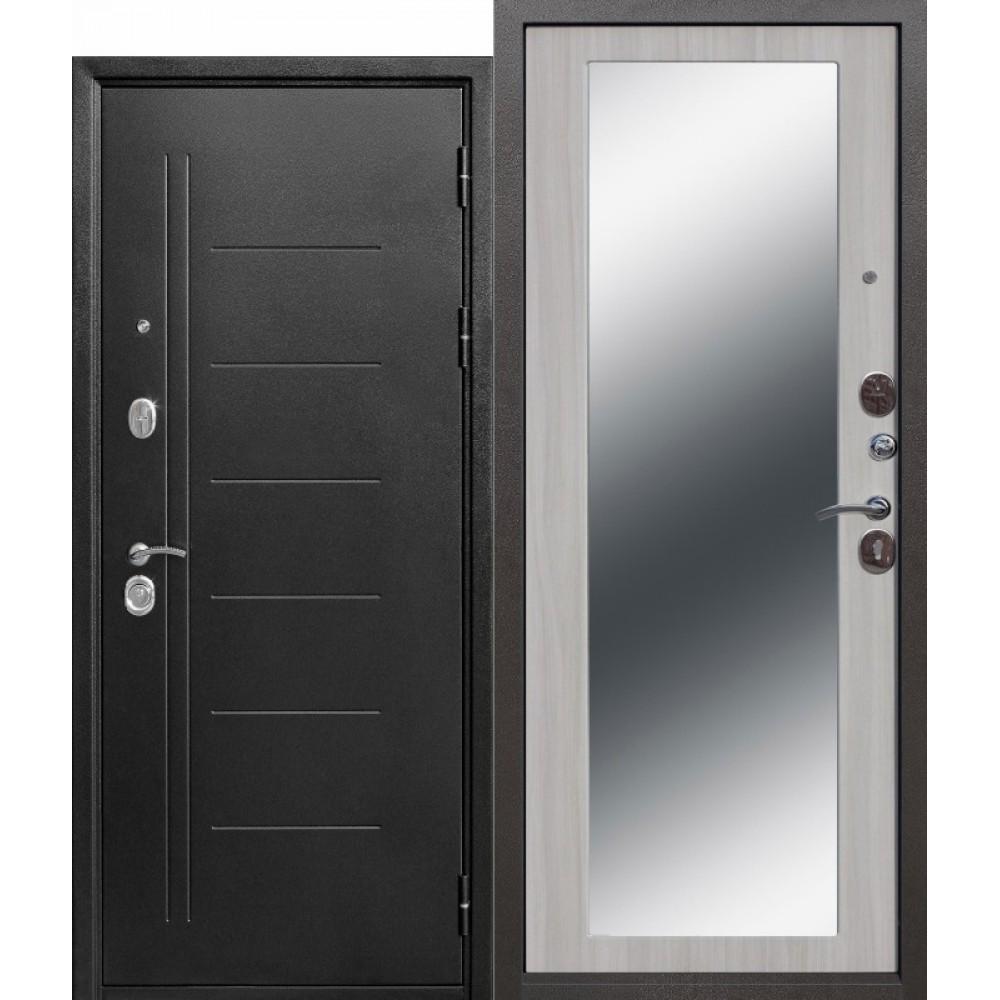 Входная металлическая дверь 10 см Троя Серебро MAXI зеркало Белый ясень. Доставка до 4 -х дней.