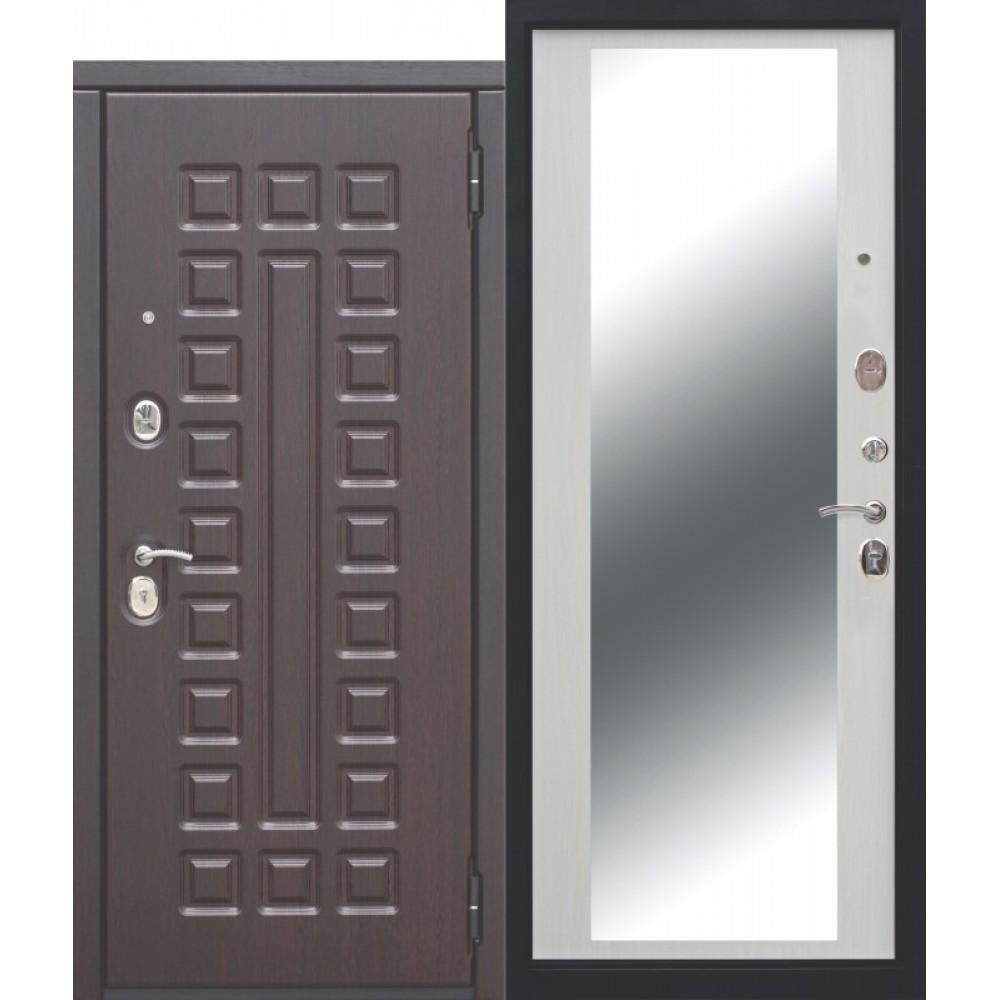 Входная металлическая дверь 10 см МОНАРХ Зеркало Белый ясень.