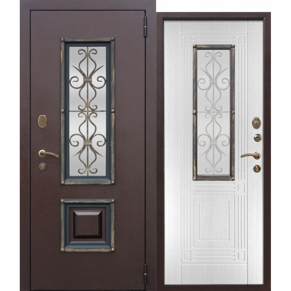 Входная металлическая дверь со стеклопакетом Венеция Белый ясень. Доставка до 4 -х дней.