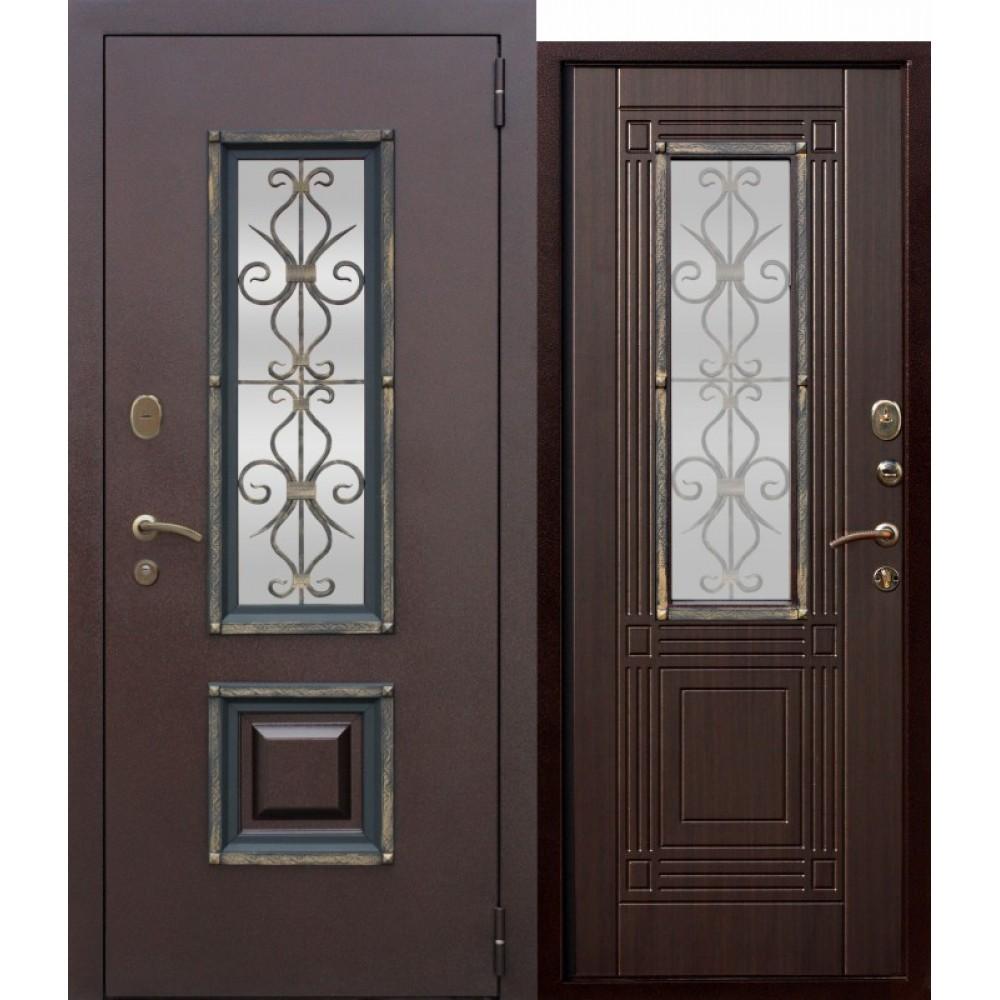 Входная металлическая дверь со стеклопакетом Венеция Венге.