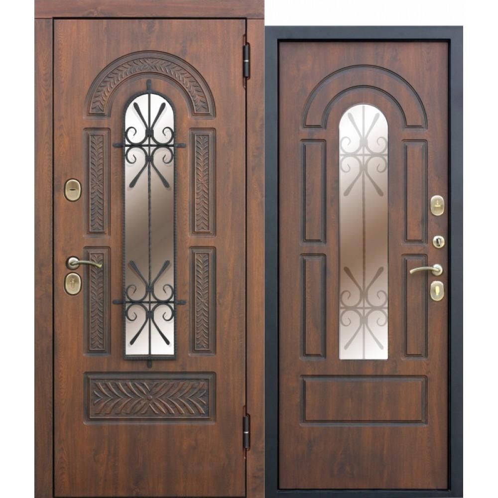 Входная металлическая дверь со стеклопакетом и ковкой Vikont Грецкий Орех с МДФ панелями. Доставка до 4 -х дней.