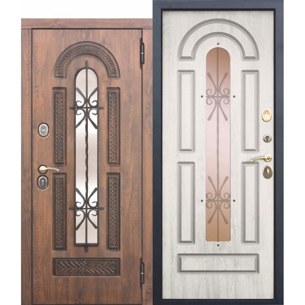 Входная металлическая дверь со стеклопакетом и ковкой Vikont Сосна Белая с МДФ панелями. Доставка до 4 -х дней.