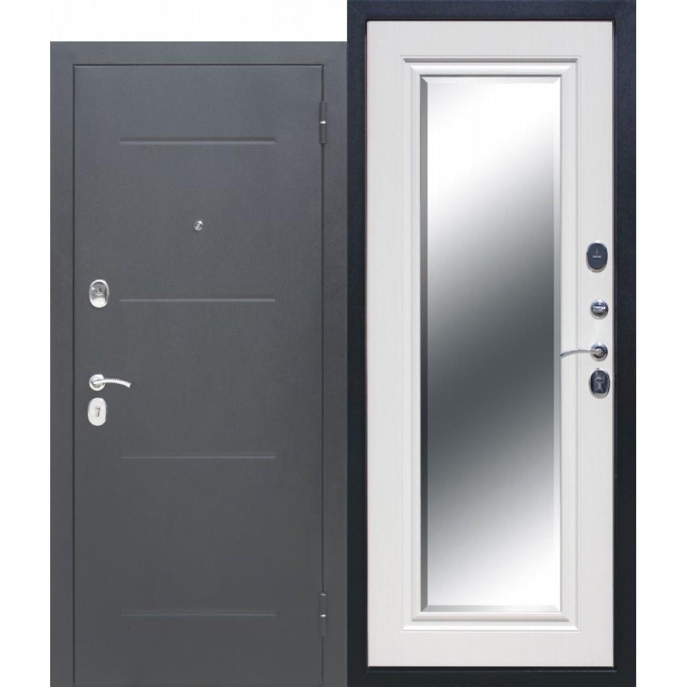 Входная металлическая дверь 7,5 см GARDA Серебро Зеркало Фацет Белый ясень. Доставка до 4 -х дней.