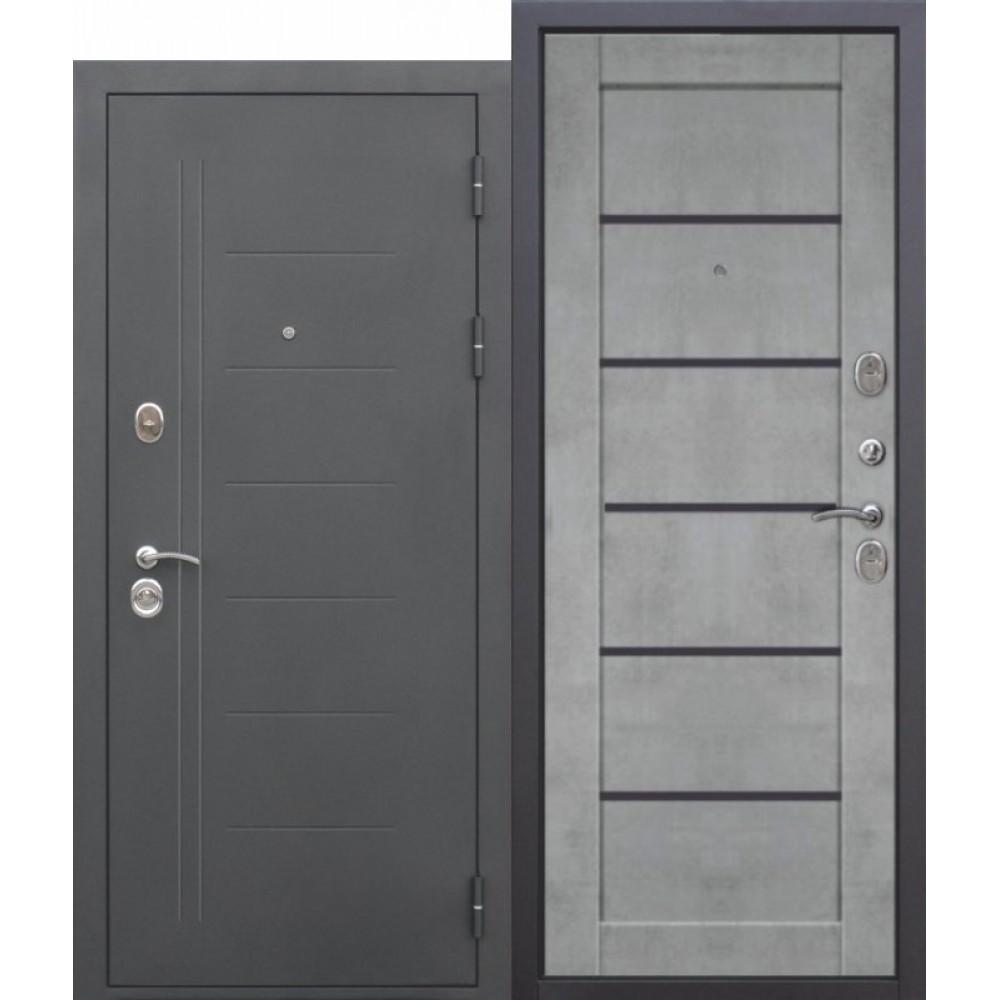 Входная металлическая дверь 10 см ТРОЯ Муар Царга бетон серый