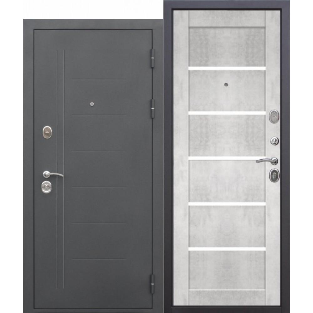 Входная металлическая дверь 10 см ТРОЯ Муар Царга бетон снежный